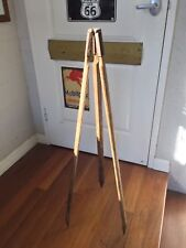 Vintage Collectable Industrial Wooden Tripod Lamp Light