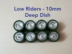 1/64 Custom Wheels LOW RIDERS WHEELS RUBBER TIRES 10MM DEEP DISH - Hot Wheels