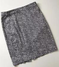 J Crew Factory Black White Cheetah Leopard The Pencil Skirt Cotton Size 2