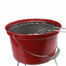 Portable Lightweight Camping Charcoal Bucket Grill Picnic BBQ Barbecue Red