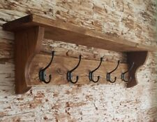 Solid Oak Coat Hook Rack with Shelf 5 Hooks