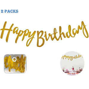 """2 Sets Happy Birthday Banner Gold Sparkly Glitter 2.5ft 7"""" Hight"""