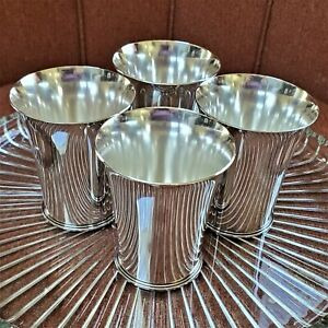 "4 GEORG JENSEN BEAKERS CUPS GOBLETS 671C Nielsen 3.625"" sterling silver NO mono"