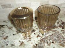 CROSCILL FLAMANT (2PC) TOOTHBRUSH HOLDER & TUMBLER GLASS CHROME AMBER