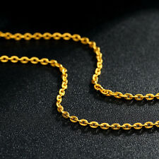 """Authentic 999 24K Yellow Gold Necklace 16.5""""L  PERFECT O Link Lucky Necklace"""