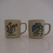 2 tasses muges céramique grès vintage arboriste art nouveau
