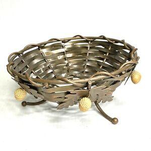 Vintage Woven Copper Bowl Basket