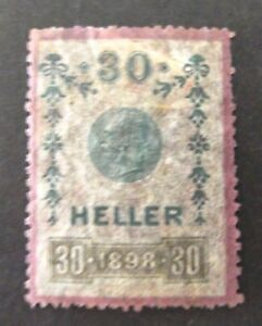 Austria-1898-30 Heller Revenue Fiscal Tax-Used