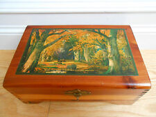 Vintage Tongue & Groove Cedar Trinket Dresser Box Gold Forest