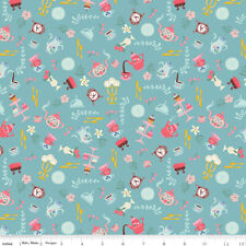 Riley Blake Unforgettable Fabric C3866 Blue White petals FLORAL FLOWERS craft FQ