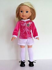 """Pink Soccer Outfit + Shoes Fits American Girl 14.5"""" Wellie Wisher Doll Clothes"""
