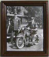 X072 Police Officer in old Motorcycle, photo framed w/glass