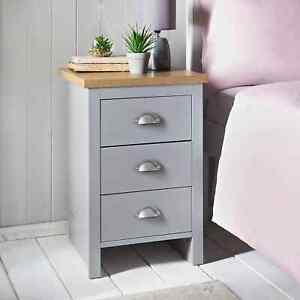 Sleek Gorgeous Oak Finish Tops Millbrook 3 Bedside Drawer With Metal Handles New