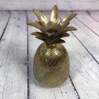 "Brass Pineapple Trinket Dish Lidded Box Candle Holder Decorative 7.75"" / India 4"