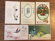 Antique postcards birthday wishes c.1910-1915, Lot of 5 Free Ship