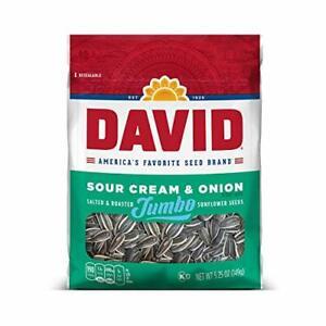 DAVID Sour Cream & Onion Jumbo Sunflower Seeds, Keto Friendly, 5.25-oz.