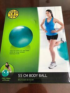"Golds Gym 55 cm. Green 5'3"" & Under Yoga Workout Gym Fitness Body Ball w/ Pump"