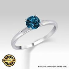 0.25 Carat Ideal Cut Genuine Blue Diamond Solitaire Ring
