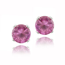 1.2ct Created Pink Sapphire 925 Silver Stud Earrings, 5mm
