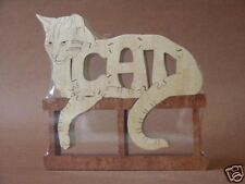 Content Cat Feline Amish Made Wood Toy Puzzle Figure