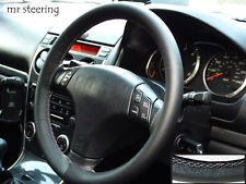 FOR MAZDA MX5 MK3 2005-2014 BLACK REAL LEATHER STEERING WHEEL COVER WHITE STITCH