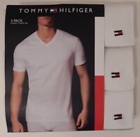 6f5b580c582 3 TOMMY HILFIGER MENS 100% COTTON WHITE V NECK S M L XL XXL T-SHIRTS