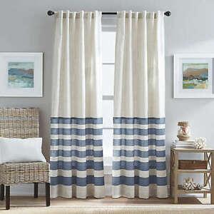 Verano 84-Inch Back Tab Window Curtain Panel in Blue