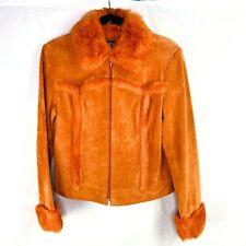 Revue Burnt Orange 100% Leather Suede & Rabbit Fur Trim Jacket Size Medium