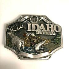 Vtg Siskiyou Belt Buckle 1987 Idaho Centennial Fishing Hunting Limited Edition!