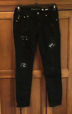 Miss Me Womens Signature Skinny Denim Black Jeans Size 28 Destroyed Jewels