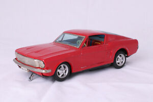 FORD MUSTANG EN TOLE A PILES JAPAN TIN TOYS BATTERY L. 25cm TRACE ROUILLE BASE