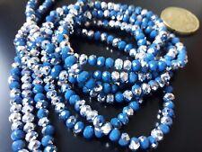 1 Hilo sarta de cristales azul y plata 4,5mm unas 145ud abalorios cuentas collar