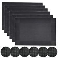 Homcomodar Black Placemats and Coasters Set of 6 Dining Table Place Mats Set