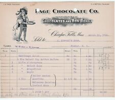 RARE Illustrated Advertising Billhead Page Chocolate Co Chicopee Falls MA 1905