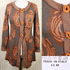 Vintage Made In Italy Long Cardigan 10 12 Floral Orange Brown 70s Hippy Boho