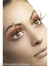 Long Brown Feather Lashes Eyelashes Leopard Bird Of Prey Animal Owl Fancy Dress