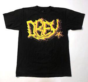 Vintage OBEY Large T-Shirt Yellow Electricity Lightning Logo Shepard Fairey USA
