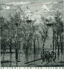 Birds, Landscape Ex libris Etching by Konstantin Kalinovich, Ukraine
