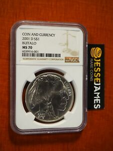 2001 D $1 SILVER BUFFALO COMMEMORATIVE DOLLAR NGC MS70 FROM COIN & CURRENCY SET