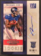 MICHAEL COX PANINI AUTHENTIC RC CERTIFIED SIGNED AUTOGRAPHED CARD NY GIANTS