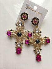fashion statement earrings, cross shape, black/gold/hot pink