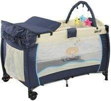 Bakaji Culla Box da Gioco da Campeggio per Neonati - Blu/Beige