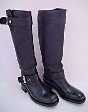 FREE LANCE black leather knee high moto biker boots size 38