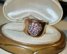 Ross Simons 18k Rose yellow Gold vermeil/Sterling silver Pink Tourmaline ring