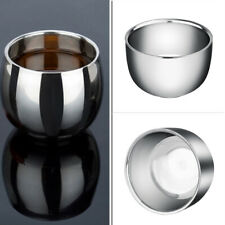 Portable Stainless Steel Shinning Double Layer Shaving Shave Brush Mug Bow Mugs