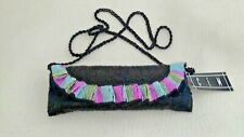 "Beaded Bag by Cem 9"" x 3"" Black Pink Blue Gold Braided Strap Lined In Satin New"