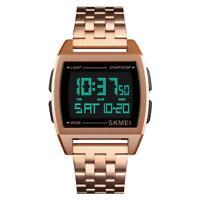 SKMEI Men's Waterproof Sports Army Date Stainless Steel LED Digital Wrist Watch