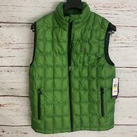 Tommy Hilfiger Mens sz M Green Down Vest Quilted ColdStop Outback Flag