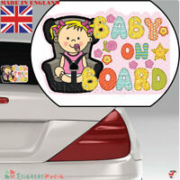 Baby On Board Girl LAMINATED Car Sticker Sign, Bumper Window Warning Sticker UK