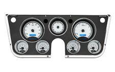67-72 Chevy Truck C10 Dakota Digital Silver Alloy & Blue Analog Clock Gauge Kit
